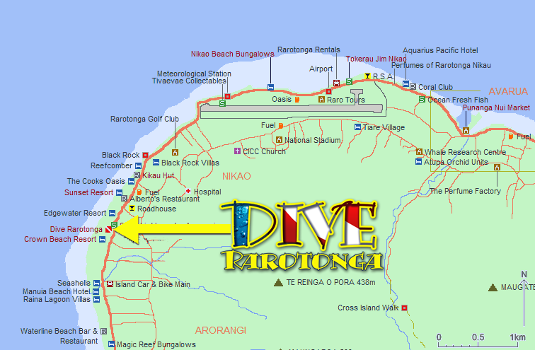 Map of Dive Rarotonga location